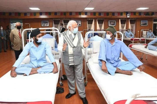 PM Modi interacted with the soldiers who were injured at the clash between Indian and  China troops at Galwan Valley.