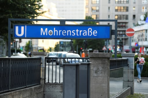 """A sign for """"Mohrenstrasse"""" subway station is seen in central Berlin, Germany July 3, 2020. REUTERS/Annegret Hilse"""