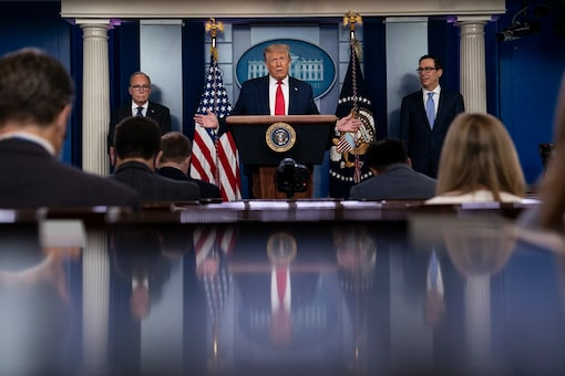President Donald Trump speaks during a news briefing at the White House.  (AP Photo/Evan Vucci)