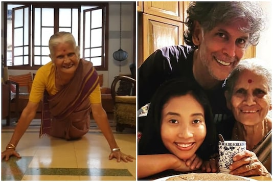 Milind Soman with his mother and wife.