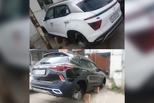 Delhi Thieves Steal All 4 Wheels of Brand New Hyundai Creta and Kia Seltos SUVs Parked at Home