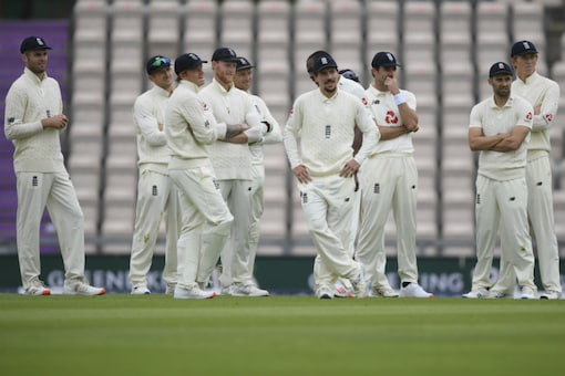 England wait for the third umpire's decision on a LBW review by John Campbell (Image: AP)