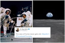 Moonwalker Buzz Aldrin Just Set Serious 'Throwback' Goals with Photo of Earth as Seen from Moon