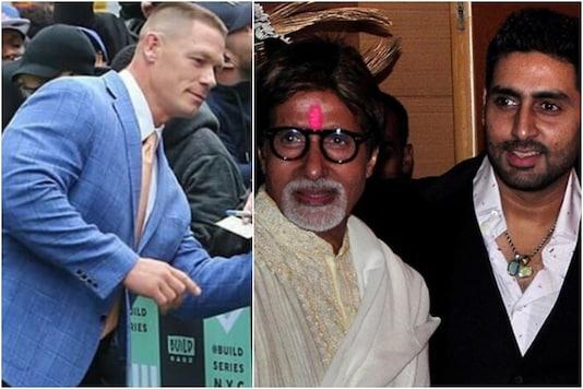 John Cena (L) shares a post for Amitabh Bachchan and his son Abhishek