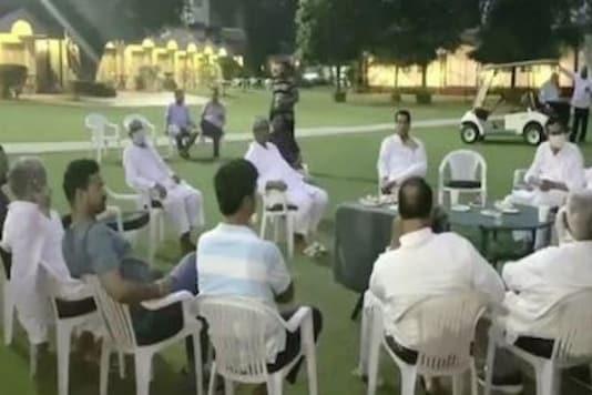 MLAs loyal to Sachin Pilot at a hotel in Manesar on Monday night. (Twitter/ANI)