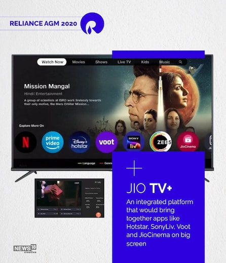 JioTV+ Announced at RIL AGM: To Have Integrated Content from Major OTT Platforms