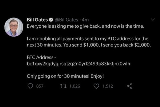 Microsoft co-founder Bill Gates' Twitter account appeared to have been compromised, with a crypto scam tweet being posted and pinned on his account at around 2:30AM IST on Thursday, July 16. (Image: Twitter/News18.com)