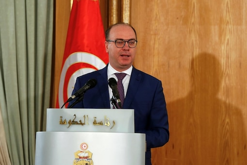 Tunisia's Prime Minister Elyes Fakhfakh speaks during a handover ceremony in Tunis, Tunisia February 28, 2020. REUTERS/Zoubeir Souissi - RC2O9F9RKT2I