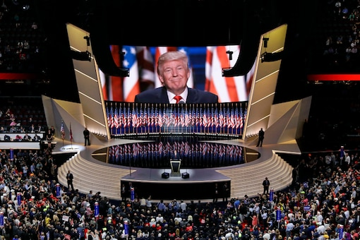 In this July 21, 2016, file photo Republican presidential candidate Donald Trump smiles as he addresses delegates during the final day session of the Republican National Convention in Cleveland. (AP)