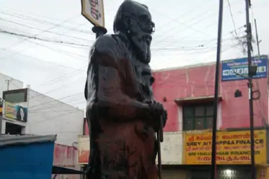 A witness noticed saffron paint poured all over the statue.