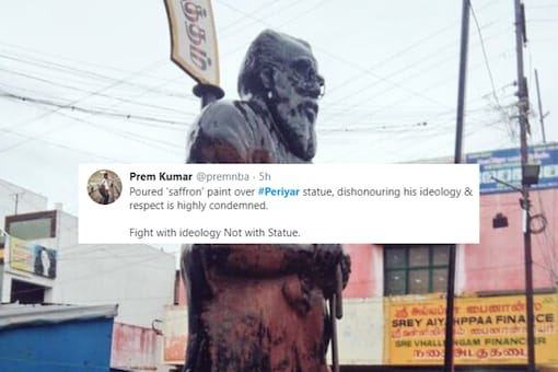 Periyar's statue was vandalised on Friday in Coimbatore | Image credit: Twitter
