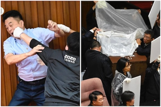 Taiwanese lawmakers were up in arms on Friday as yet another fight broke out in Parliament | Image credit: AFP
