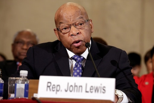 FILE PHOTO:  Rep. John Lewis testifies to the Senate Judiciary Committee during the second day of confirmation hearings on Senator Jeff Sessions'nomination to be US attorney general in Washington, US, January 11, 2017. (REUTERS/Joshua Roberts)