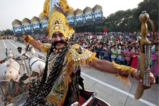 File photo of an artist dressed as demon King Ravana acts in a religious play during Dussehra festival. (Reuters/file photo)