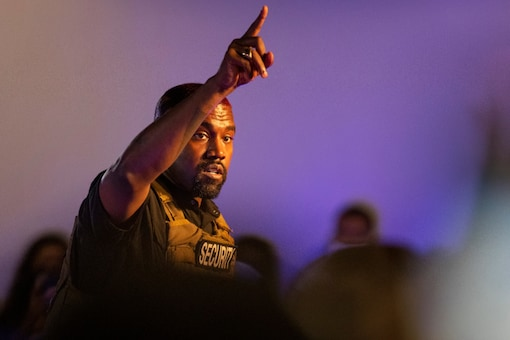 Kanye West makes his first presidential campaign appearance, Sunday, July 19, 2020 in North Charleston, S.C.  (Lauren Petracca Ipetracca/The Post And Courier via AP)