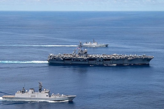 The drills were carried out near India's Andaman and Nicobar islands which sits near the Malacca Straits, one of the world's busiest shipping routes for trade and fuel, an Indian source said. India has a military base on the islands. (Photo: @USNavy/ Twitter)