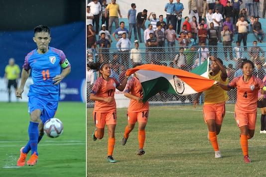 Sunil Chhetri (L) and Indian women's football team (Photo Credit: AIFF Media)