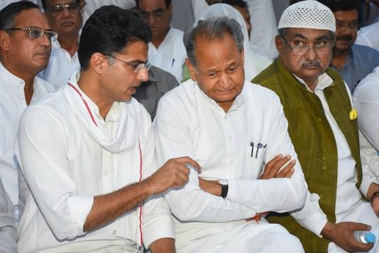 Ashok Gehlot with Sachin Pilot. (PTI file)