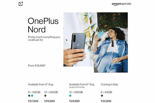 The OnePlus Nord variants that will be available in India include the India-exclusive one with 6GB RAM and 64GB storage, with a price tag of Rs 24,999.