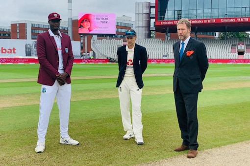 Joe Root and Jason Holder at the toss in the final Test at Manchester (Image: CWI/Twitter)