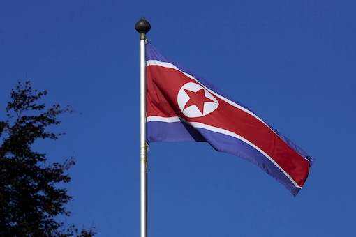 FILE PHOTO: A North Korean flag flies on a mast at the Permanent Mission of North Korea in Geneva October 2, 2014.   REUTERS/Denis Balibouse