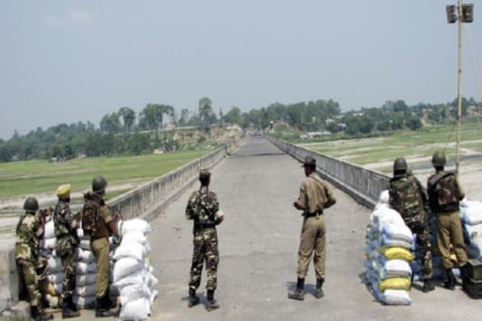 Guards stationed at the India-Nepal border.
