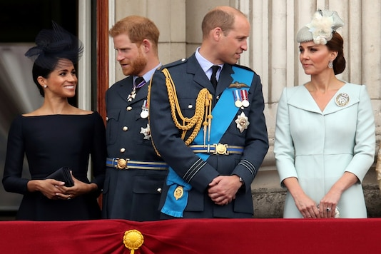 File photo Meghan Markle, Duchess of Sussex, Prince Harry, Prince William, Catherine, Duchess of Cambridge on the balcony of Buckingham Palace. (Reuters)