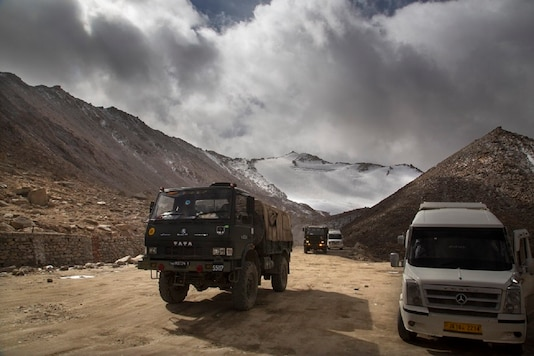 An Indian Army truck crosses Chang la pass near Pangong Lake in Ladakh region, India. (AP File Photo)