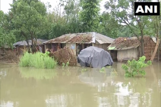A village in Bihar's East Champaran totally submerged under flood waters. (Credit: ANI/Twitter)
