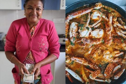 Saroj Didi and her home-cooked Mangalore Crab Curry. (Image credit: Twitter/ Ankit Vengulerkar)