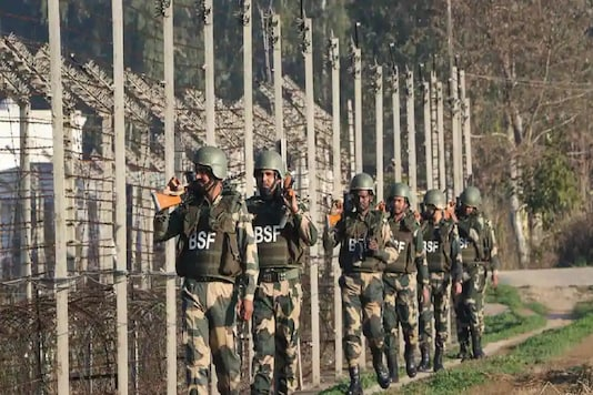 Border Security Force (BSF) soldiers patrol along the India-Pakistan border at RS Pura about 35 km from Jammu. (PTI File Photo)