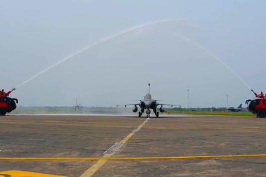 A Rafale jet at Ambala Air Force station. (Image credit: ANI Twitter)