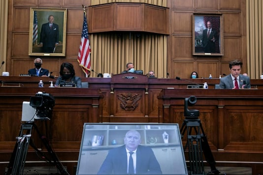 Amazon CEO Jeff Bezos speaks via video conference during a hearing of the House Judiciary Subcommittee on Antitrust, Commercial and Administrative Law on