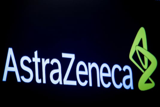 FILE PHOTO: The company logo for pharmaceutical company AstraZeneca is displayed on a screen on the floor at the New York Stock Exchange, U.S., April 8, 2019. REUTERS/Brendan McDermid/File Photo