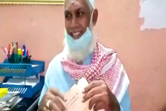 Mahammad Nooruddin, 51, first appeared for his Class 10 exam in 1987, 33 years ago | Image credit: Twitter (screengrab)