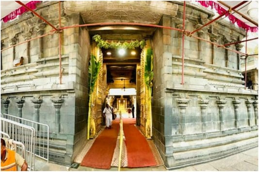 File photo of the entrance to the Tirupati temple.