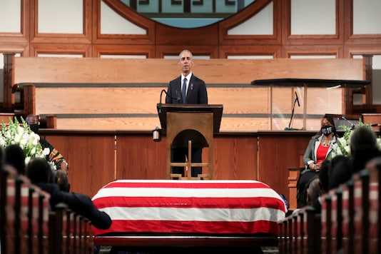 Former U.S. President Barack Obama addresses the service during the funeral of late U.S. Congressman John Lewis, a pioneer of the civil rights movement and long-time member of the U.S. House of Representatives who died July 17, at Ebeneezer Baptist Church in Atlanta, Georgia, U.S. July 30, 2020. Alyssa Pointer/Pool via REUTERS