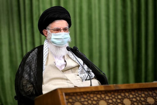 Iran's Supreme Leader Ayatollah Ali Khamenei wears a protective face mask, during a virtual meeting with lawmakers in Tehran, Iran July 12, 2020. Official Khamenei Website/Handout via REUTERS