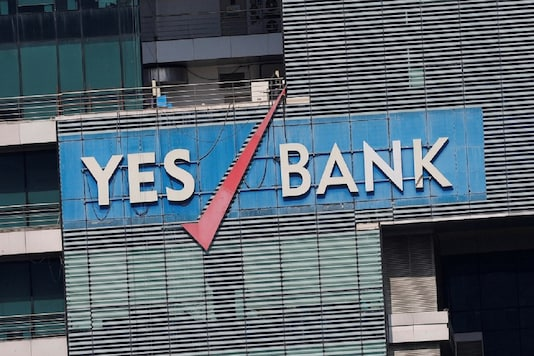 The logo of Yes Bank is pictured on the facade of its headquarters in Mumbai.