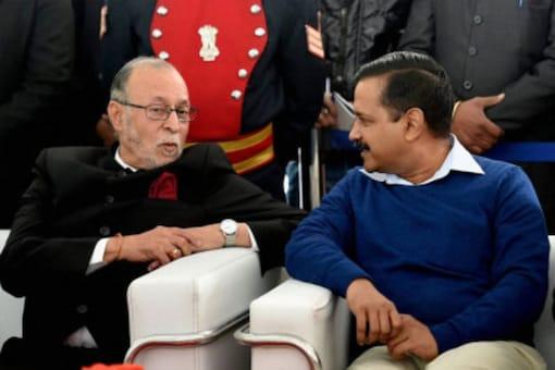 Delhi Lieutenant Governor Anil Baijal  with Chief Minister Arvind Kejriwal. (File photo : PTI)