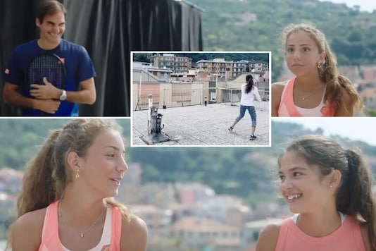 Roger Federer and the girls from the viral rooftop tennis video (Photo Credit: Screengrab)