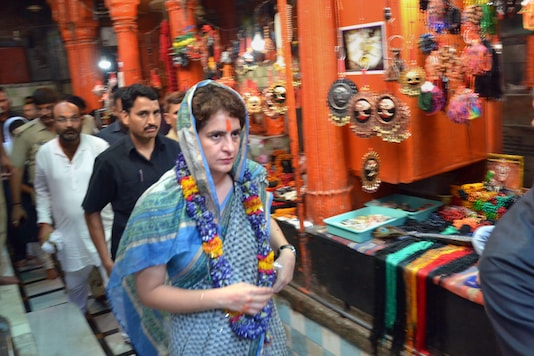 File photo of Congress leader Priyanka Gandhi Vadra at a temple in Varanasi. (PTI)