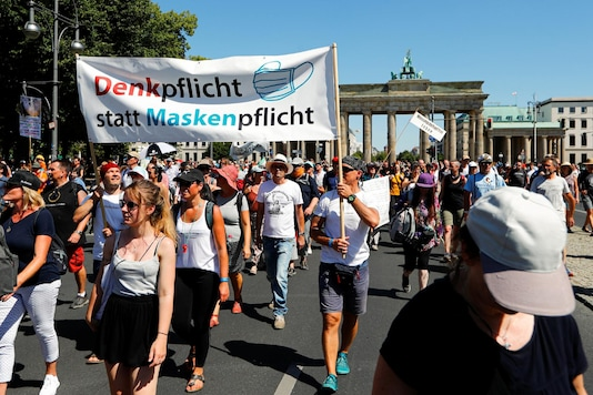 A general view shows the stage near the Brandenburg Gate during a protest against the government's restrictions amid the coronavirus disease (COVID-19) outbreak, in Berlin, Germany, August 1, 2020. REUTERS/Fabrizio Bensch