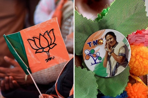 Party logos of BJP and TMC.