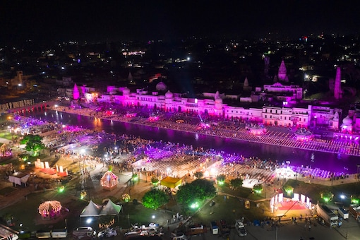 An illuminated Ayodhya on the eve of the groundbreaking ceremony of the Ram temple. (AP)