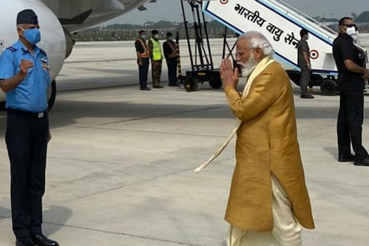 Prime Minister Narendra Modi on his way to Ayodhya for the Ram Temple ground-breaking ceremony on Wednesday.