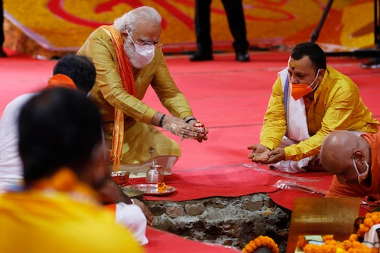 Prime Minister Narendra Modi performs the groundbreaking ceremony of the Ram Temple in Ayodhya, on August 5, 2020. (AP Photo/Rajesh Kumar Singh)