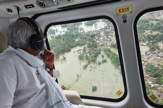 Chief Minister Nitish Kumar made an aerial survey of the affected areas of north Bihar on Wednesday. (Image: Twitter)