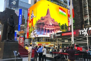 Ram Temple Billboard Shines at New York's Iconic Times Square