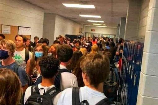Crowded hallway of Georgia school.